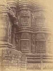 Close view of western portion of the northern façade of the sanctuary of the Rajalinga Temple, Bhubaneshwar